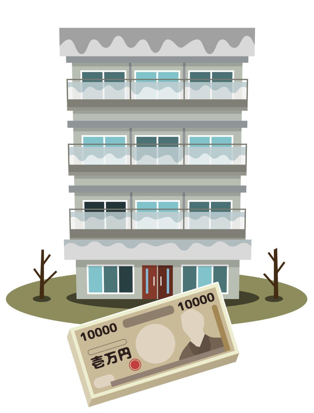 タワーマンションと家賃を表すイラスト