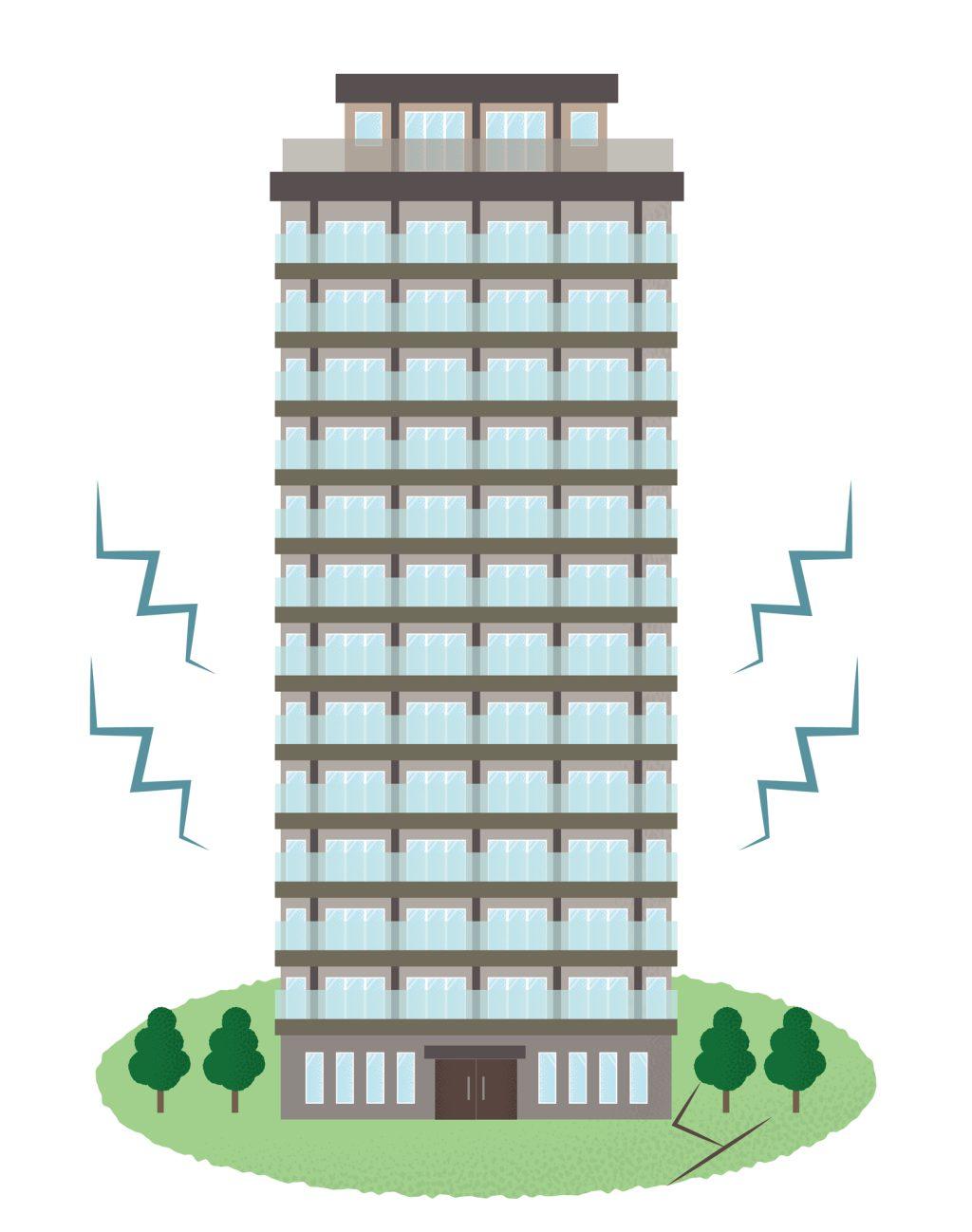 地震で揺れるタワーマンション